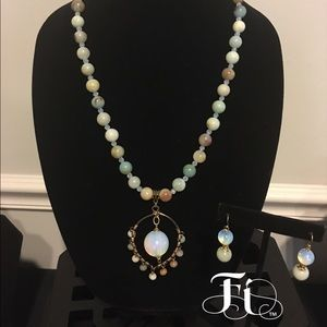 Gorgeous Amazonite and Opalite Necklace Set